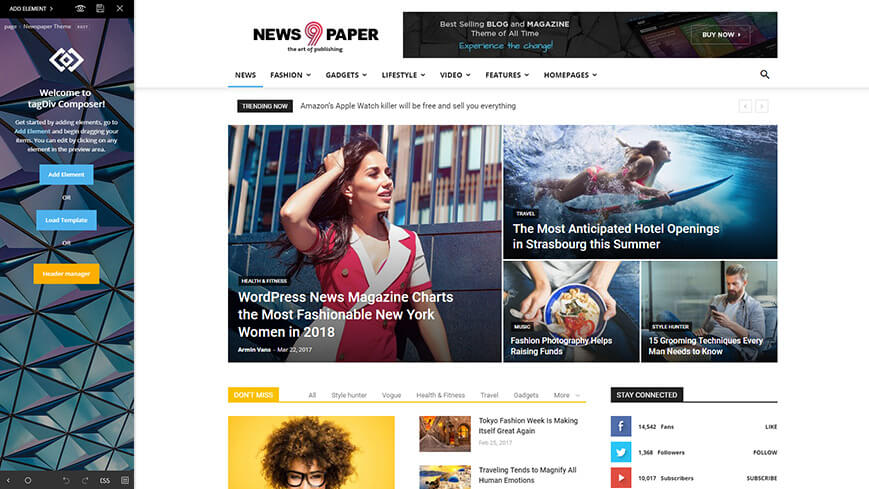 Newspaper theme's features clearly shows that design flexibility is its greatest asset.