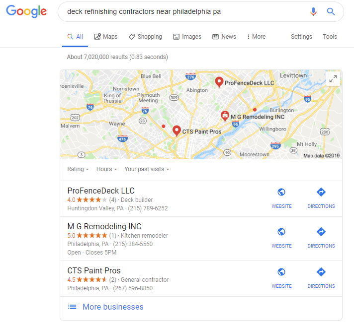 You can look for places near you in google maps