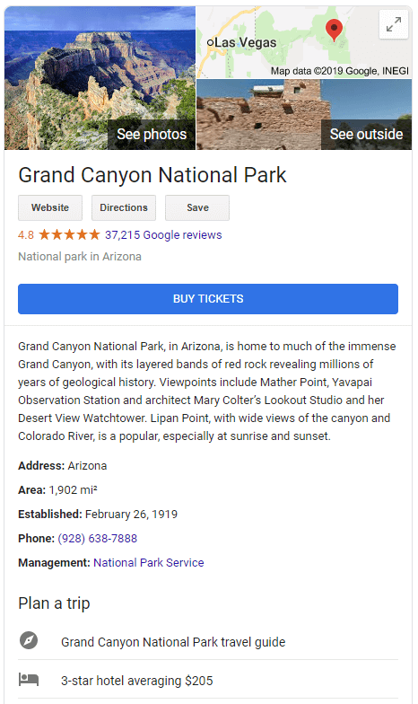 With the knowledge graph, google shows more specific information