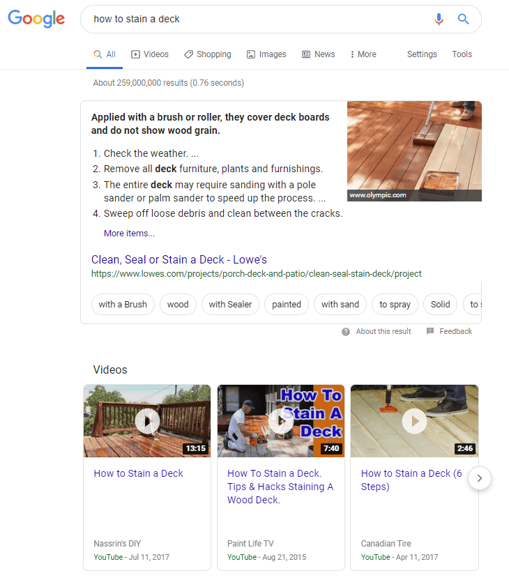 Google Search also shows videos and images